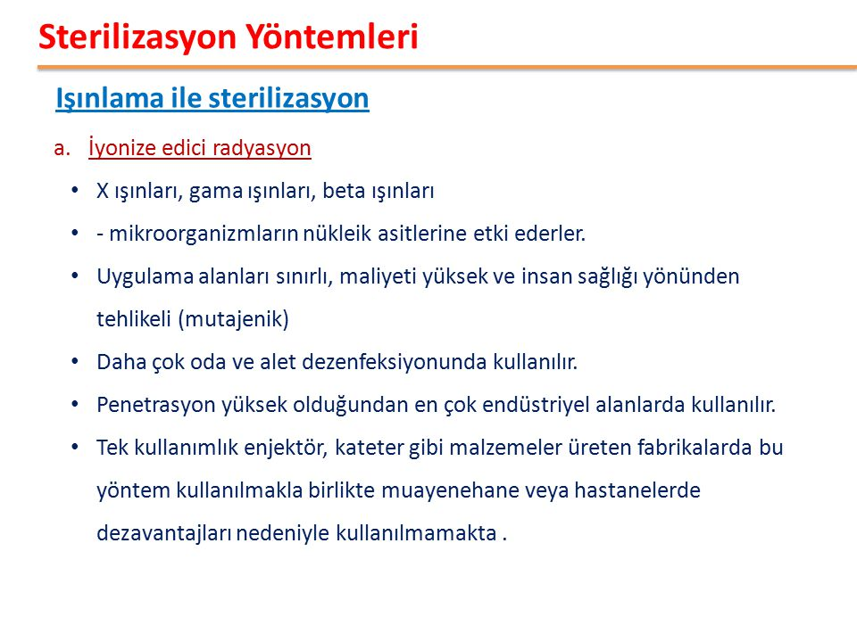 Sterilizasyon Yöntemleri