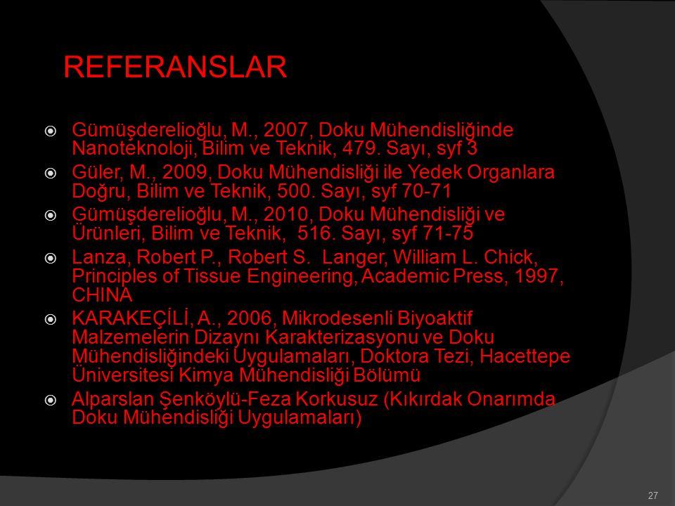 REFERANSLAR Gümüşderelioğlu, M., 2007, Doku Mühendisliğinde Nanoteknoloji, Bilim ve Teknik, 479. Sayı, syf 3.