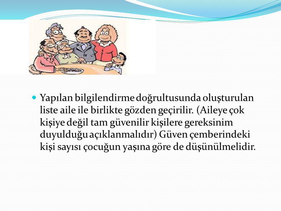 Yapılan bilgilendirme doğrultusunda oluşturulan liste aile ile birlikte gözden geçirilir.