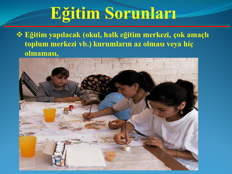 Eğitim Sorunları Eğitim yapılacak (okul, halk eğitim merkezi, çok amaçlı toplum merkezi vb.) kurumların az olması veya hiç olmaması,