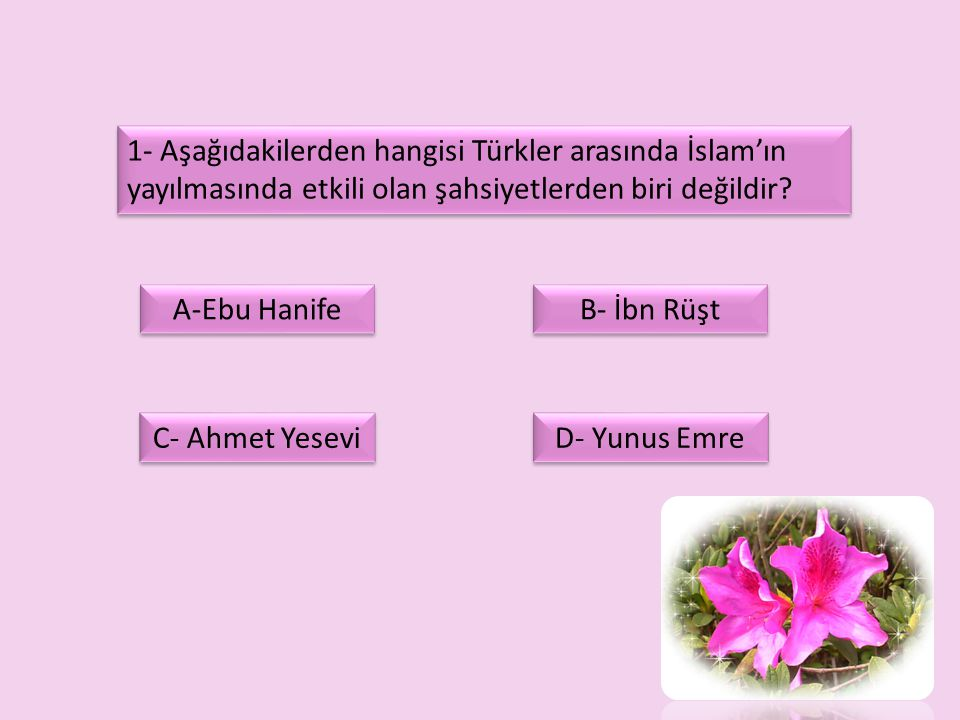 1- Aşağıdakilerden hangisi Türkler arasında İslam'ın yayılmasında etkili olan şahsiyetlerden biri değildir