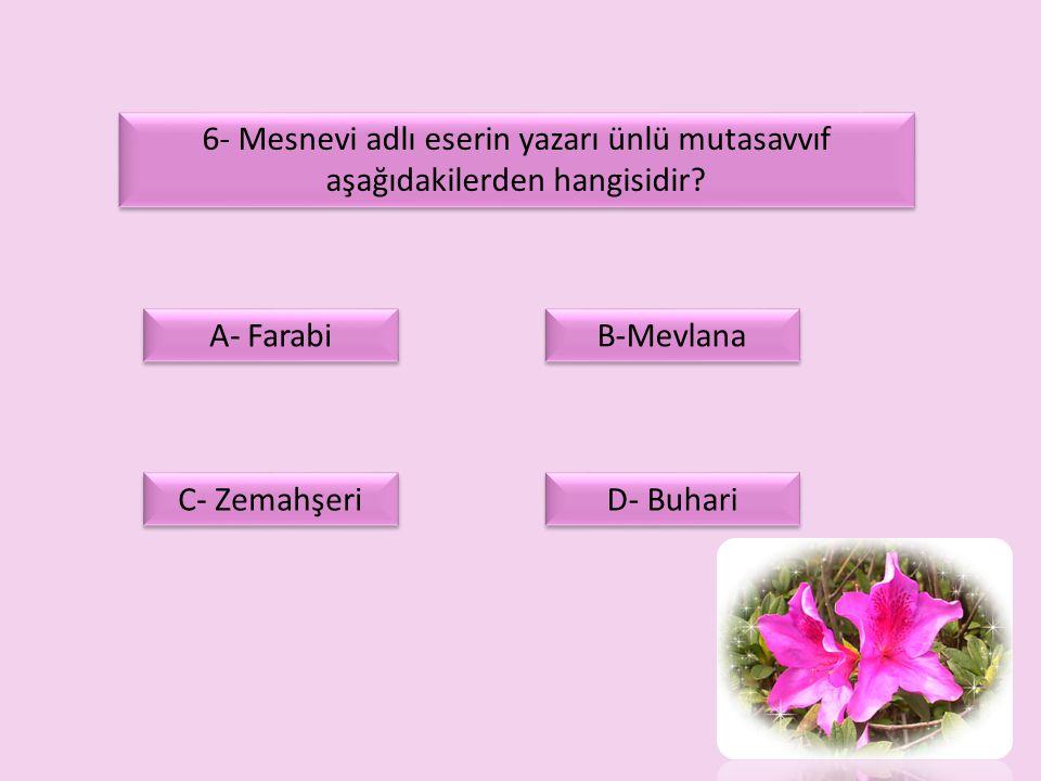 6- Mesnevi adlı eserin yazarı ünlü mutasavvıf aşağıdakilerden hangisidir