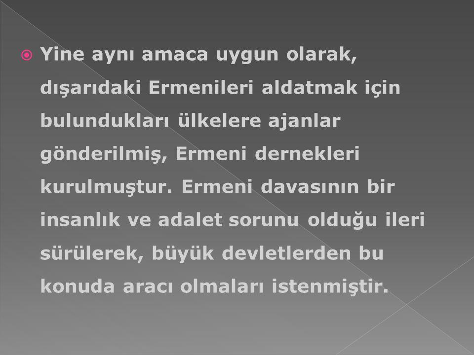 Yine aynı amaca uygun olarak, dışarıdaki Ermenileri aldatmak için bulundukları ülkelere ajanlar gönderilmiş, Ermeni dernekleri kurulmuştur.