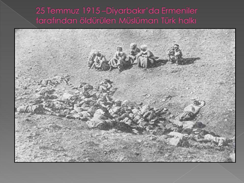 25 Temmuz 1915 –Diyarbakır'da Ermeniler tarafından öldürülen Müslüman Türk halkı