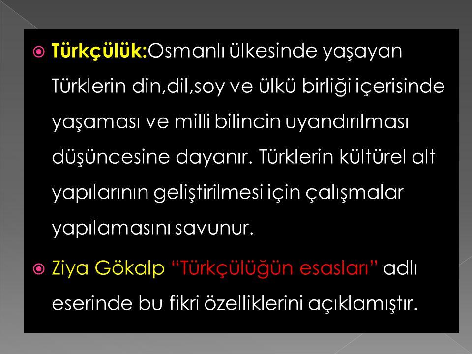 Türkçülük:Osmanlı ülkesinde yaşayan Türklerin din,dil,soy ve ülkü birliği içerisinde yaşaması ve milli bilincin uyandırılması düşüncesine dayanır. Türklerin kültürel alt yapılarının geliştirilmesi için çalışmalar yapılamasını savunur.