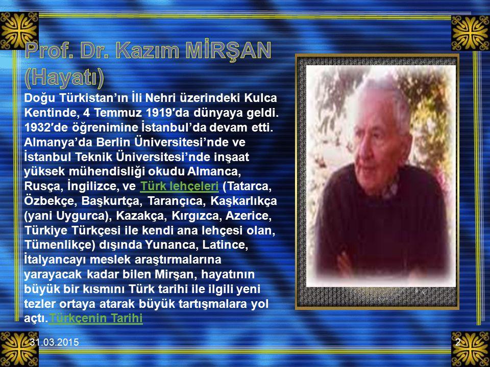 Prof. Dr. Kazım MİRŞAN (Hayatı)