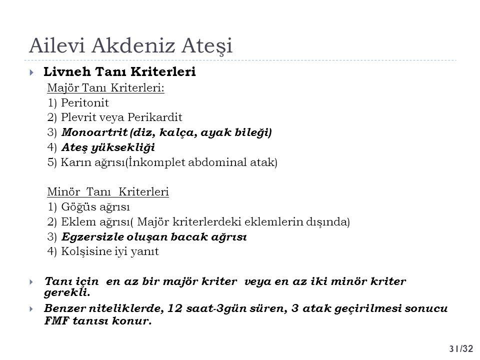Ailevi Akdeniz Ateşi Livneh Tanı Kriterleri Majör Tanı Kriterleri: