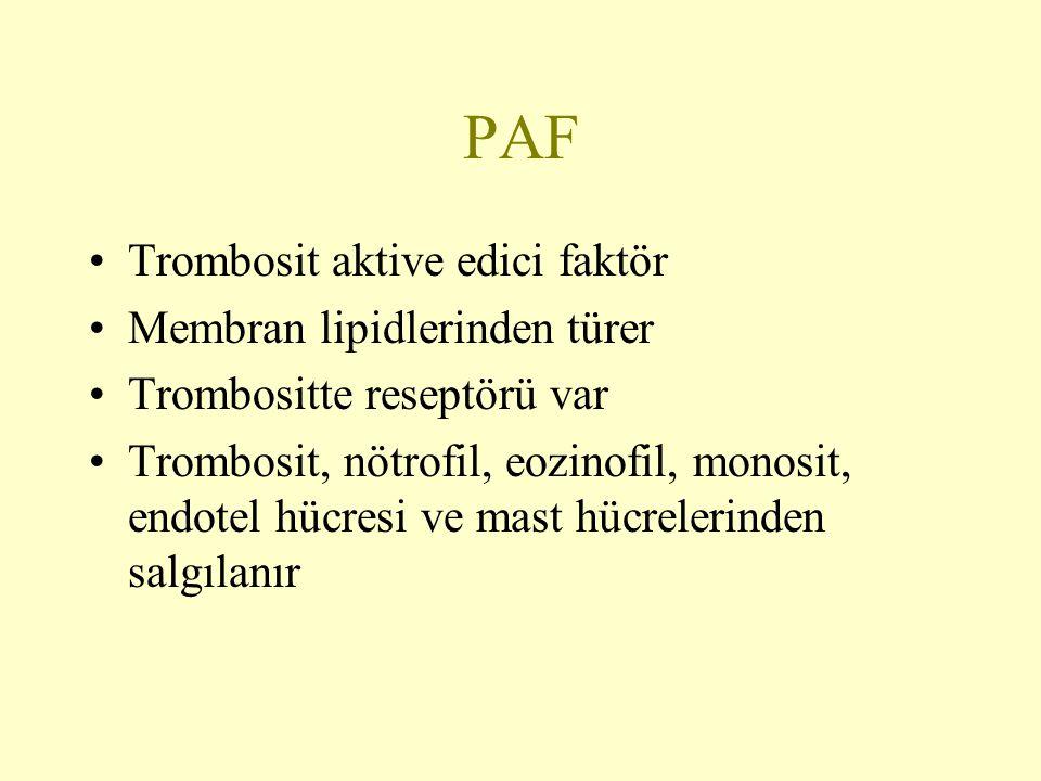 PAF Trombosit aktive edici faktör Membran lipidlerinden türer