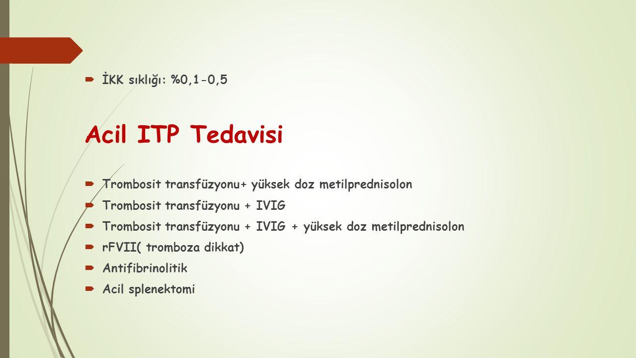 Acil ITP Tedavisi İKK sıklığı: %0,1-0,5