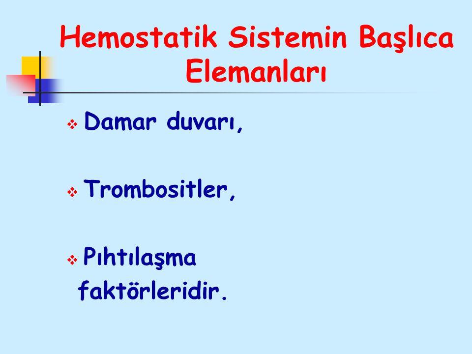 Hemostatik Sistemin Başlıca Elemanları