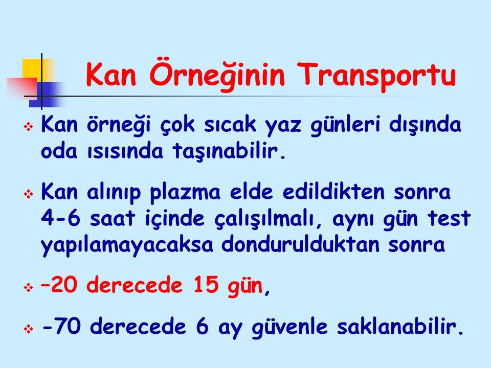 Kan Örneğinin Transportu