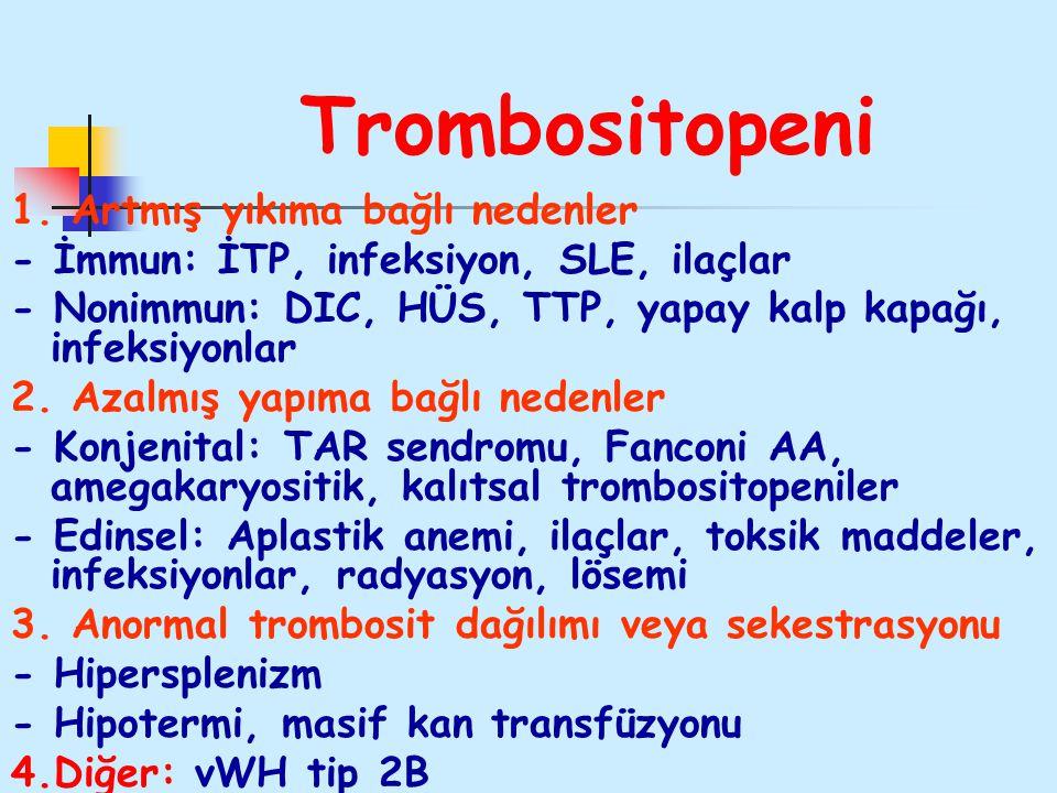 Trombositopeni 1. Artmış yıkıma bağlı nedenler