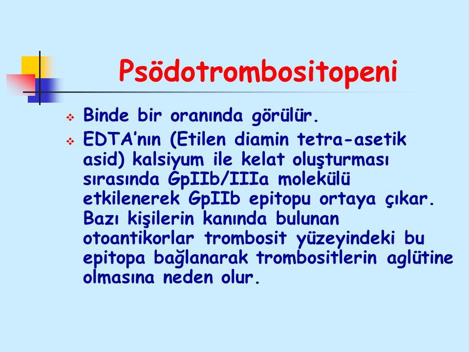 Psödotrombositopeni Binde bir oranında görülür.