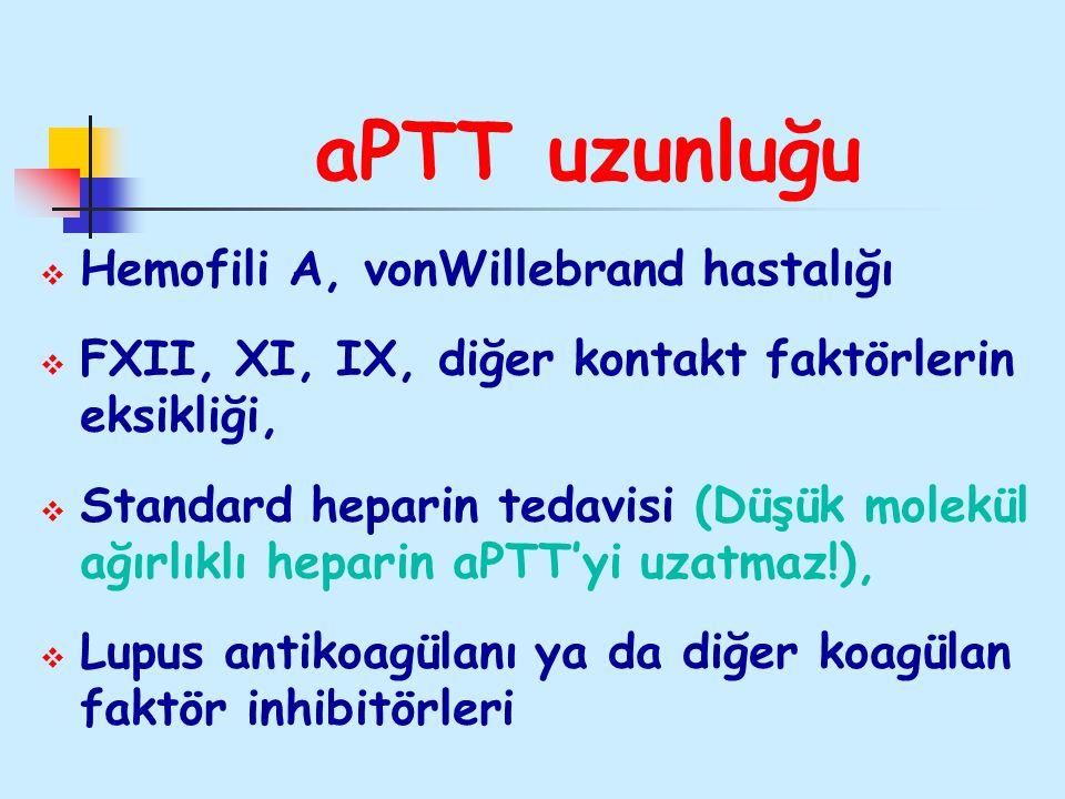 aPTT uzunluğu Hemofili A, vonWillebrand hastalığı