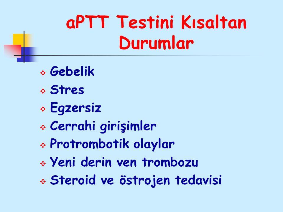 aPTT Testini Kısaltan Durumlar