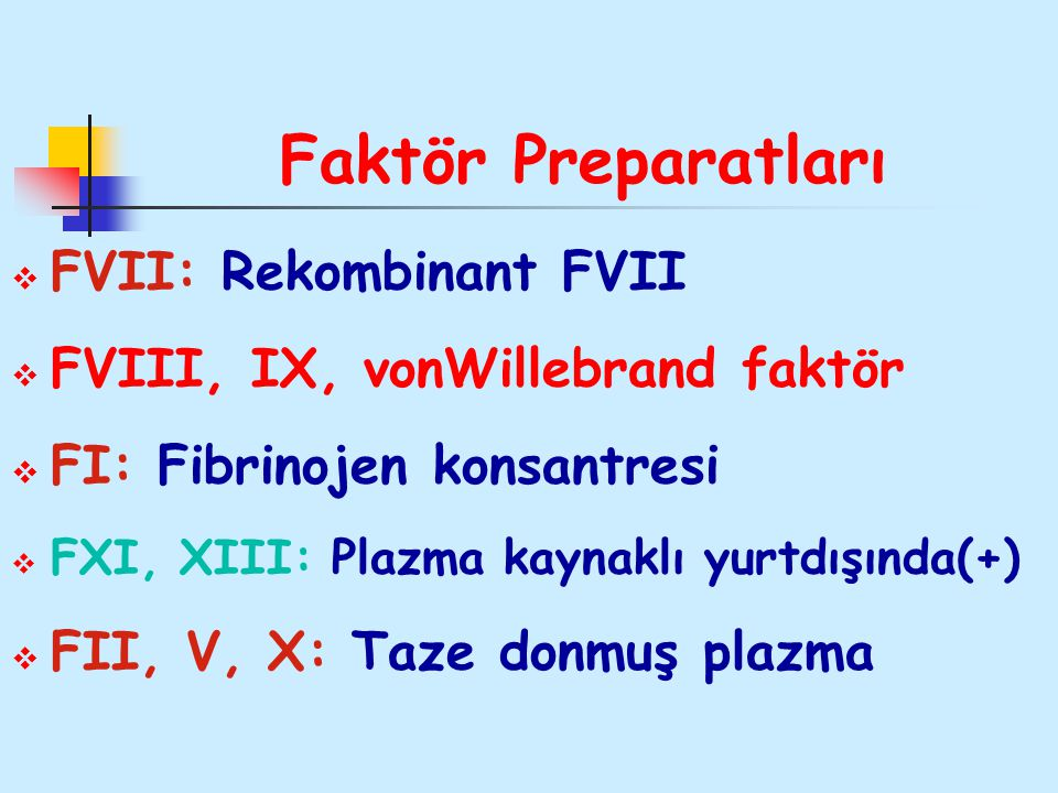 Faktör Preparatları FVII: Rekombinant FVII