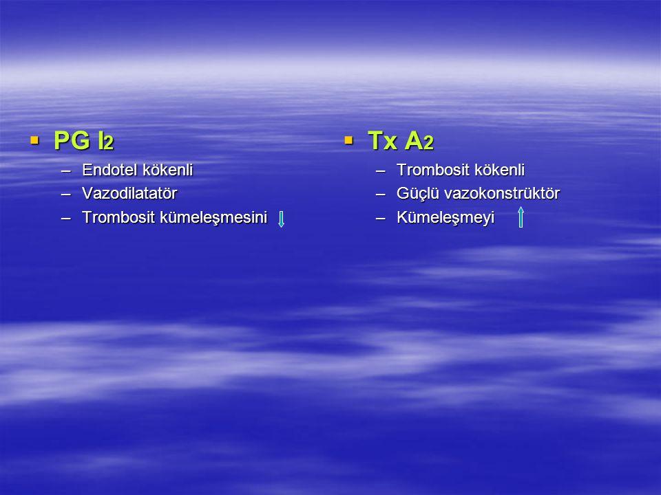 PG I2 Tx A2 Endotel kökenli Vazodilatatör Trombosit kümeleşmesini