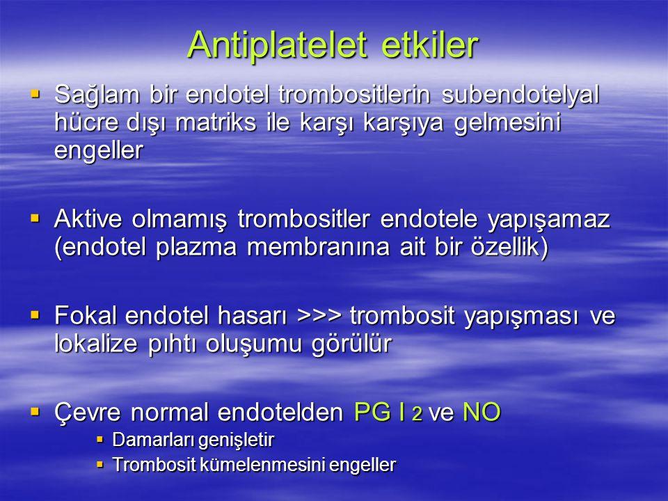 Antiplatelet etkiler Sağlam bir endotel trombositlerin subendotelyal hücre dışı matriks ile karşı karşıya gelmesini engeller.