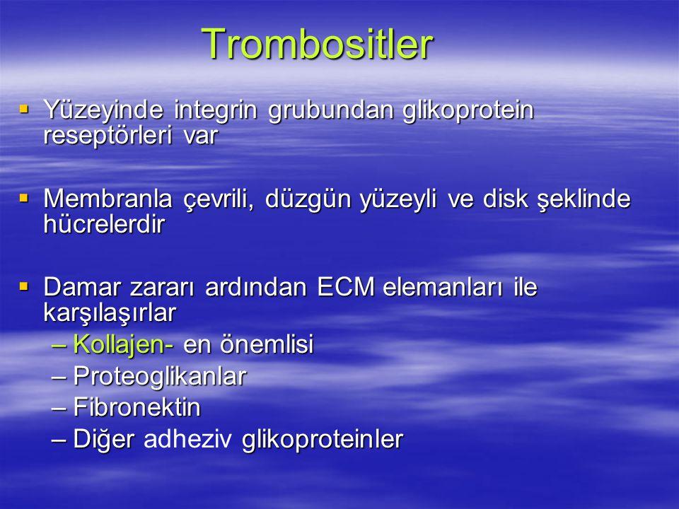 Trombositler Yüzeyinde integrin grubundan glikoprotein reseptörleri var. Membranla çevrili, düzgün yüzeyli ve disk şeklinde hücrelerdir.