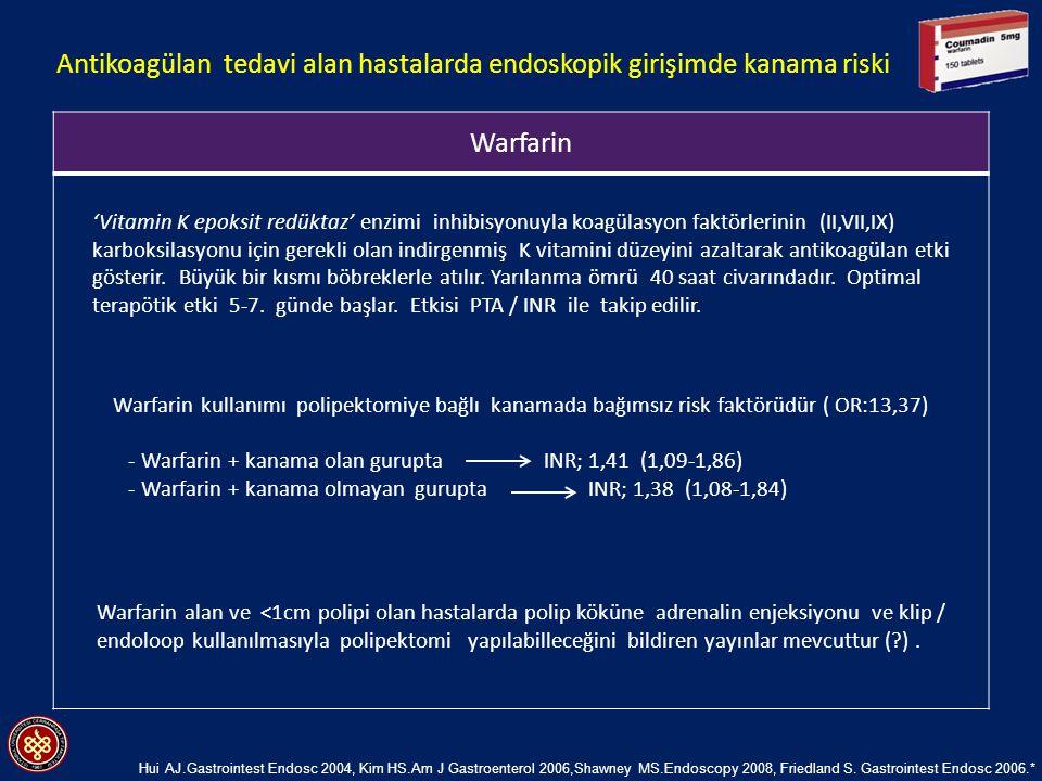 Antikoagülan tedavi alan hastalarda endoskopik girişimde kanama riski