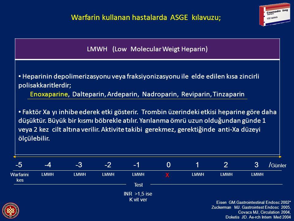 Warfarin kullanan hastalarda ASGE kılavuzu;