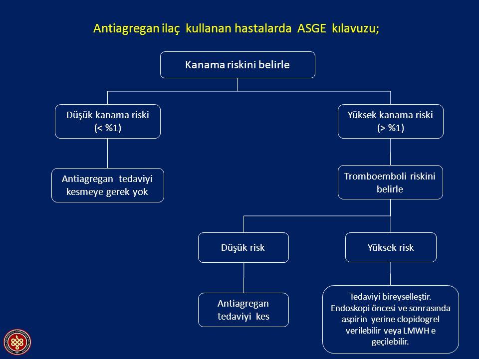 Antiagregan ilaç kullanan hastalarda ASGE kılavuzu;