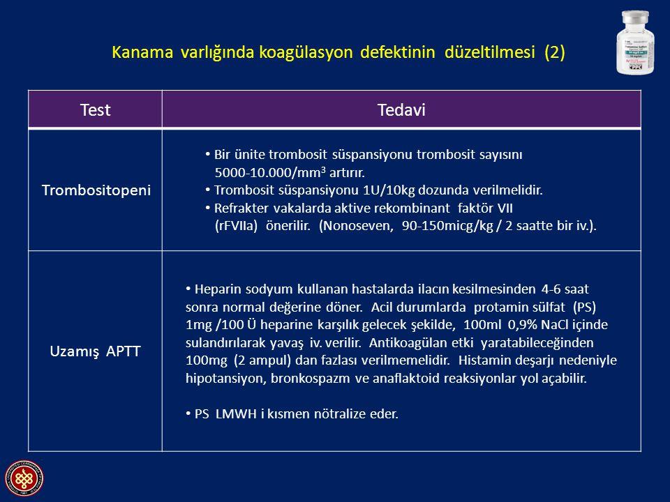 Kanama varlığında koagülasyon defektinin düzeltilmesi (2)