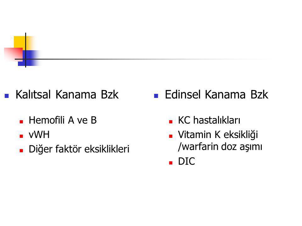 Kalıtsal Kanama Bzk Edinsel Kanama Bzk Hemofili A ve B vWH