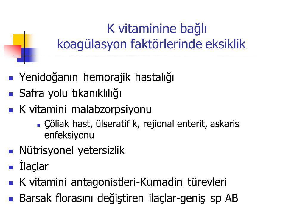 K vitaminine bağlı koagülasyon faktörlerinde eksiklik