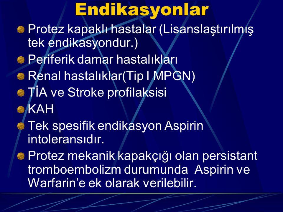 Endikasyonlar Protez kapaklı hastalar (Lisanslaştırılmış tek endikasyondur.) Periferik damar hastalıkları.