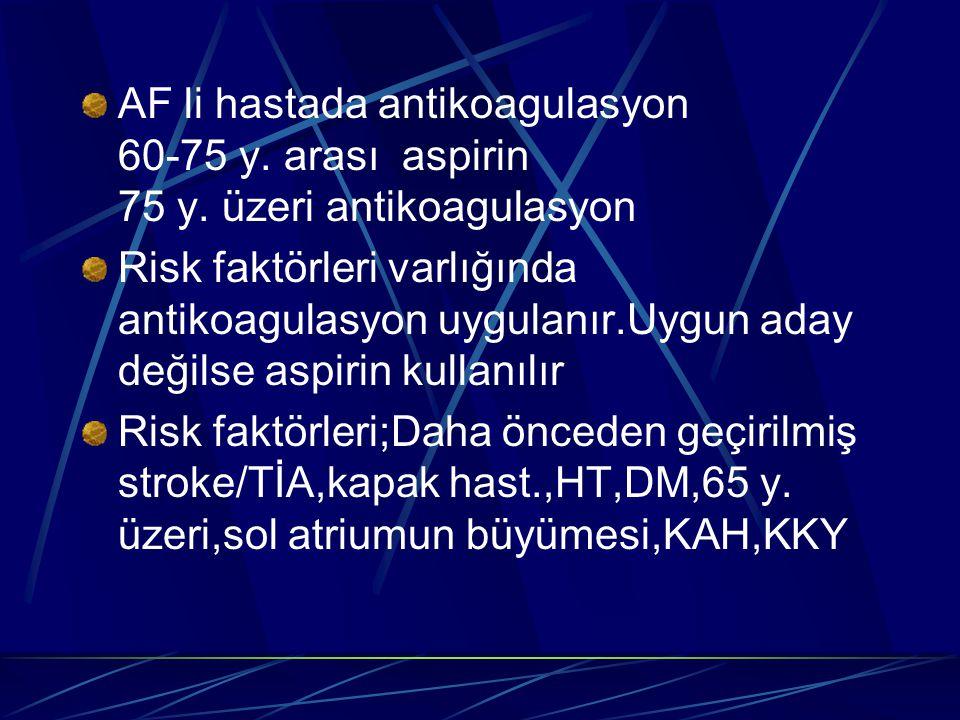 AF li hastada antikoagulasyon 60-75 y. arası aspirin 75 y