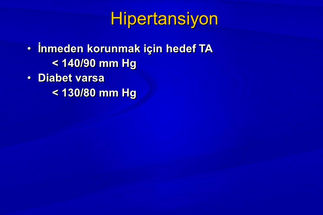 Hipertansiyon İnmeden korunmak için hedef TA < 140/90 mm Hg