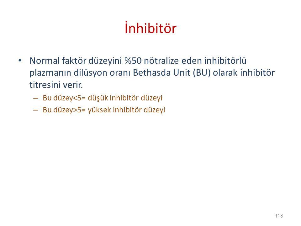 İnhibitör Normal faktör düzeyini %50 nötralize eden inhibitörlü plazmanın dilüsyon oranı Bethasda Unit (BU) olarak inhibitör titresini verir.