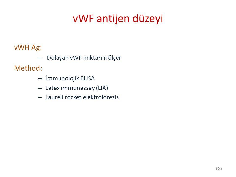 vWF antijen düzeyi vWH Ag: Method: Dolaşan vWF miktarını ölçer