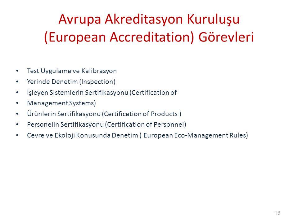 Avrupa Akreditasyon Kuruluşu (European Accreditation) Görevleri