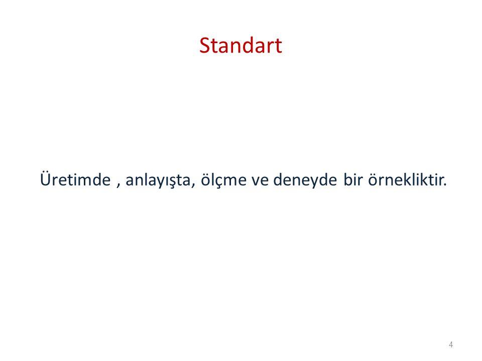 Standart Üretimde , anlayışta, ölçme ve deneyde bir örnekliktir. 4