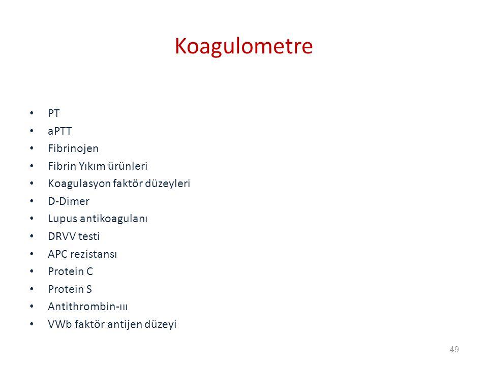 Koagulometre PT aPTT Fibrinojen Fibrin Yıkım ürünleri