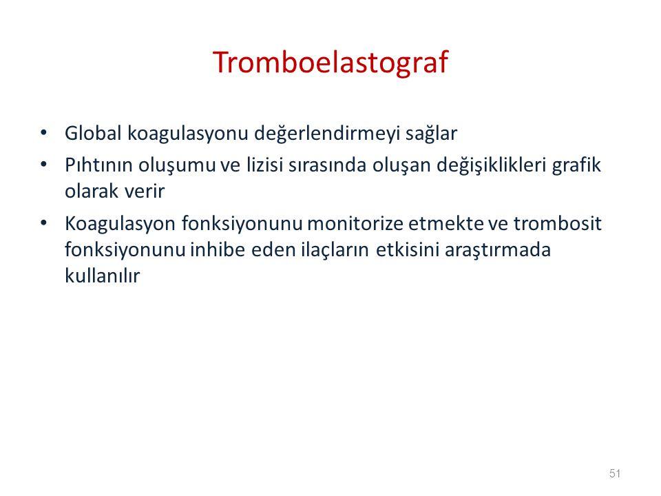 Tromboelastograf Global koagulasyonu değerlendirmeyi sağlar