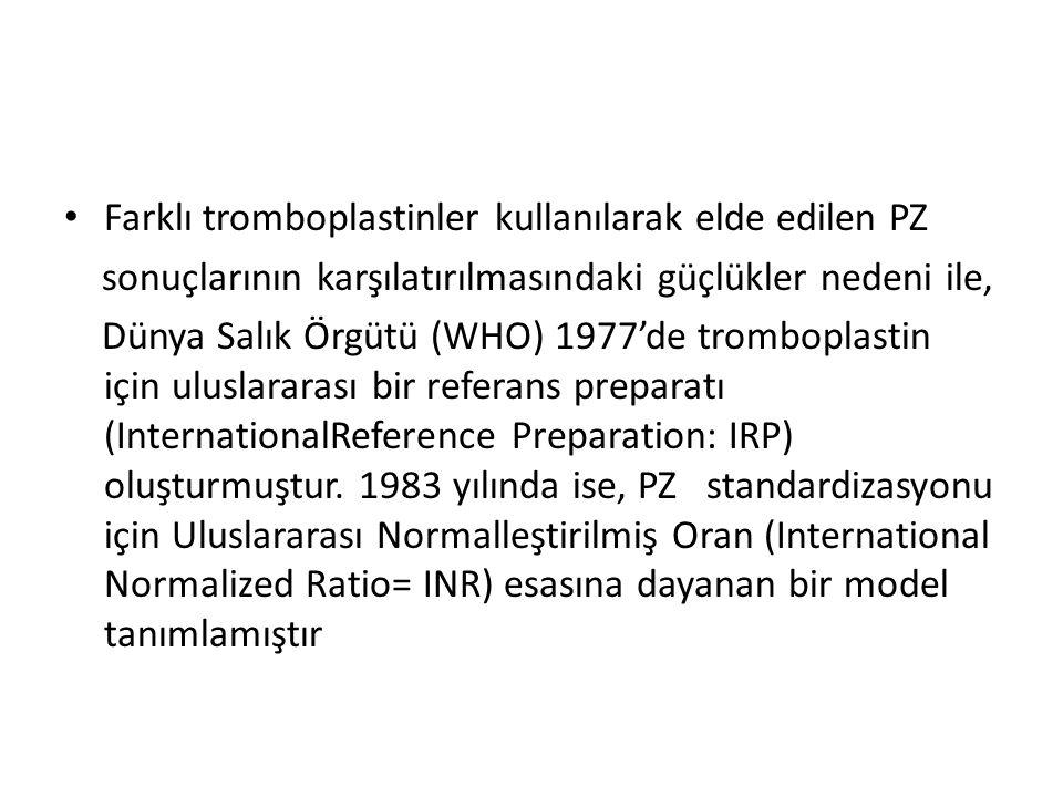 Farklı tromboplastinler kullanılarak elde edilen PZ