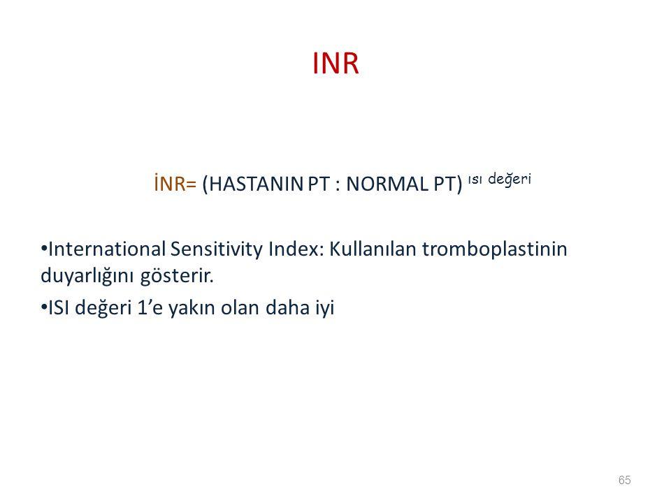 İNR= (HASTANIN PT : NORMAL PT) ısı değeri