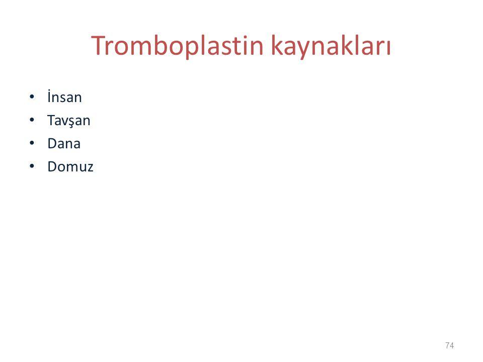 Tromboplastin kaynakları