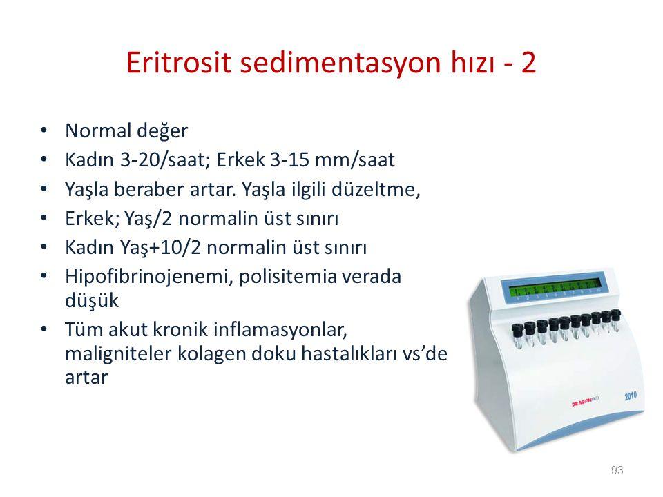 Eritrosit sedimentasyon hızı - 2
