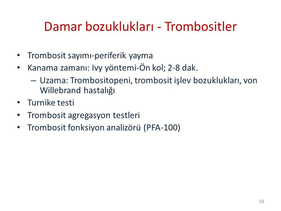 Damar bozuklukları - Trombositler