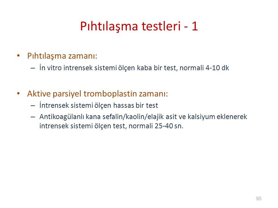 Pıhtılaşma testleri - 1 Pıhtılaşma zamanı: