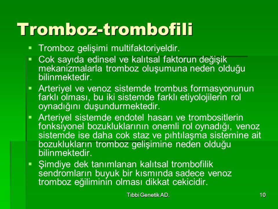 Tromboz-trombofili Tromboz gelişimi multifaktoriyeldir.