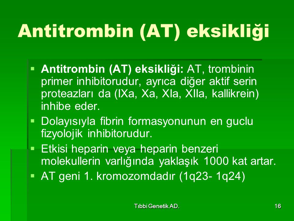 Antitrombin (AT) eksikliği