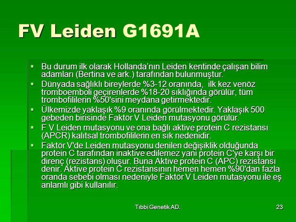 FV Leiden G1691A Bu durum ilk olarak Hollanda'nın Leiden kentinde çalışan bilim adamları (Bertina ve ark.) tarafından bulunmuştur.