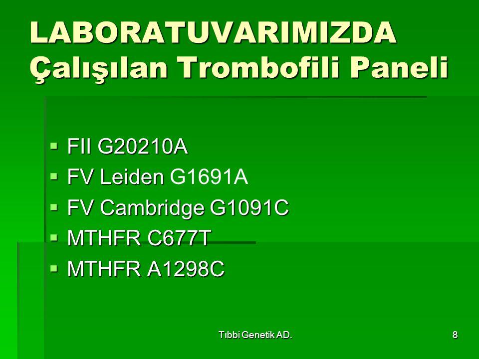 LABORATUVARIMIZDA Çalışılan Trombofili Paneli