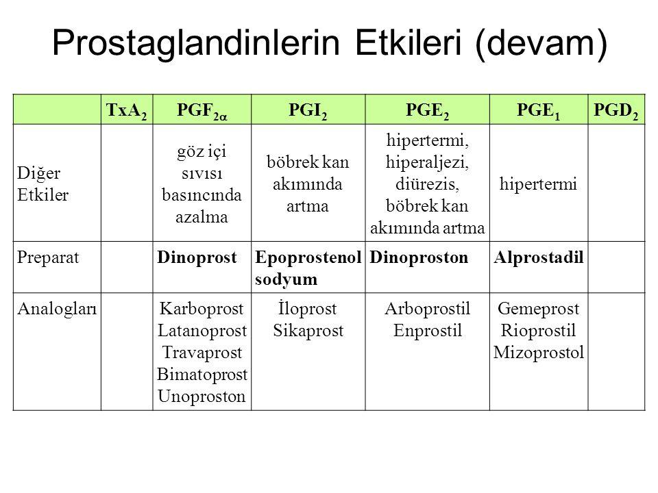 Prostaglandinlerin Etkileri (devam)