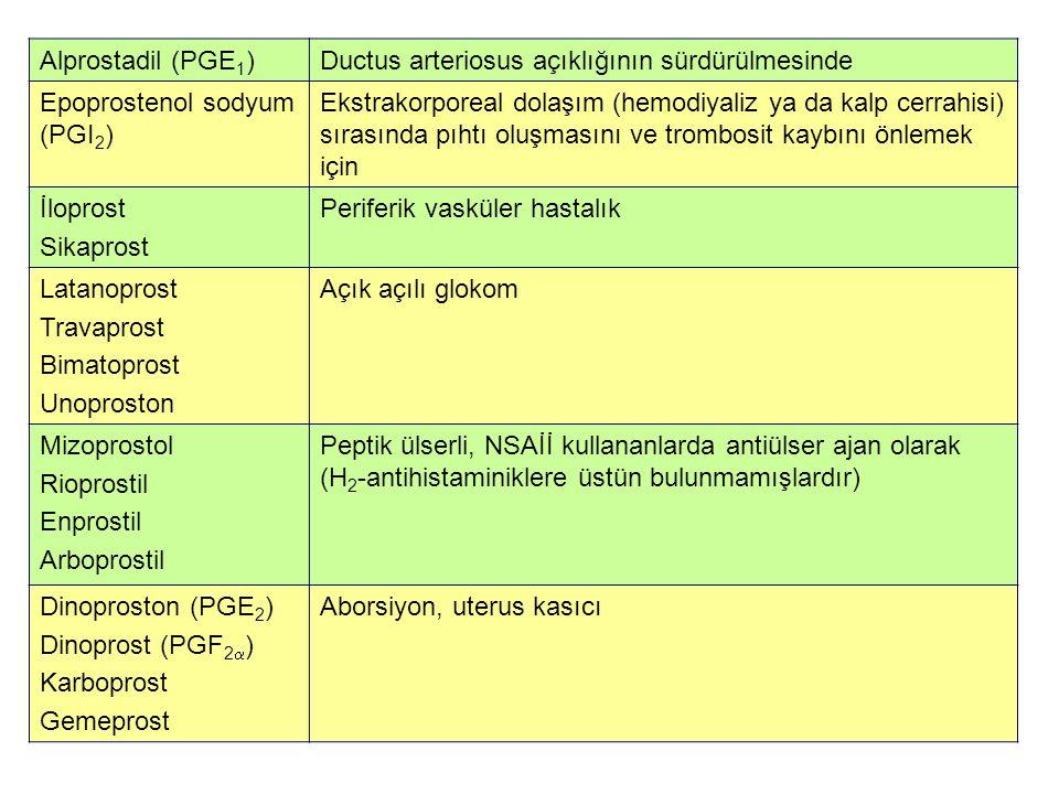 Alprostadil (PGE1) Ductus arteriosus açıklığının sürdürülmesinde. Epoprostenol sodyum (PGI2)